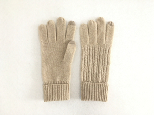 Cable Knitted Women's Cashmere Gloves