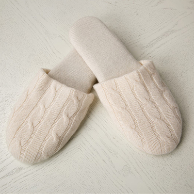 100% Cashmere Cable knitted Slippers