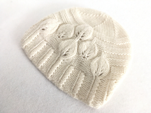 IMfield Natural Series, Hand Knitted Leaves Pattern Cashmere Beanie