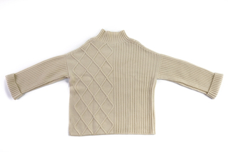 Diamond Shapes&Ribbing Cashmere Sweater