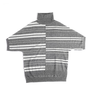 100%cashmere Stripe Turtleneck Top