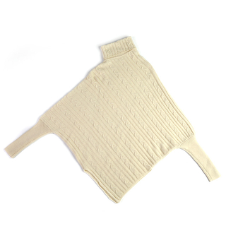 100% Cashmere Poncho Thick Cable Knit Turtleneck Open Side Sweater
