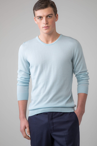 Men Silk and Cashmere Round Neck Sweater