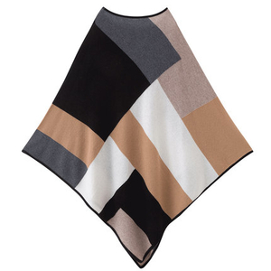 Women Plaid Cashmere Cape