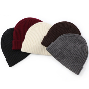 Men Rib Knit Cashmere Beanie