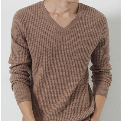 Men Cable Knitted V Neck Cashmere Sweater