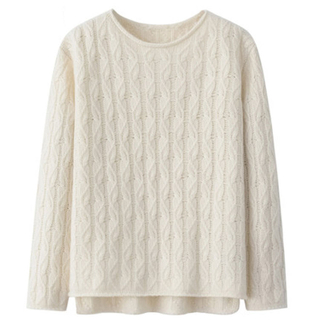 Cable Knitted Crew Neck Cashmere Sweater