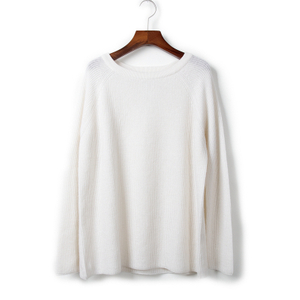 Rib Knitted Crew Neck Cashmere Sweater