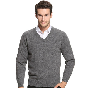 Men Plain knit V Neck Cashmere Sweater