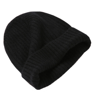 Ladies rib knitted cashmere beanie