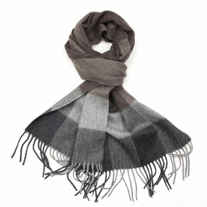 100%Cashmere Checked Scarf, Camel&Grey