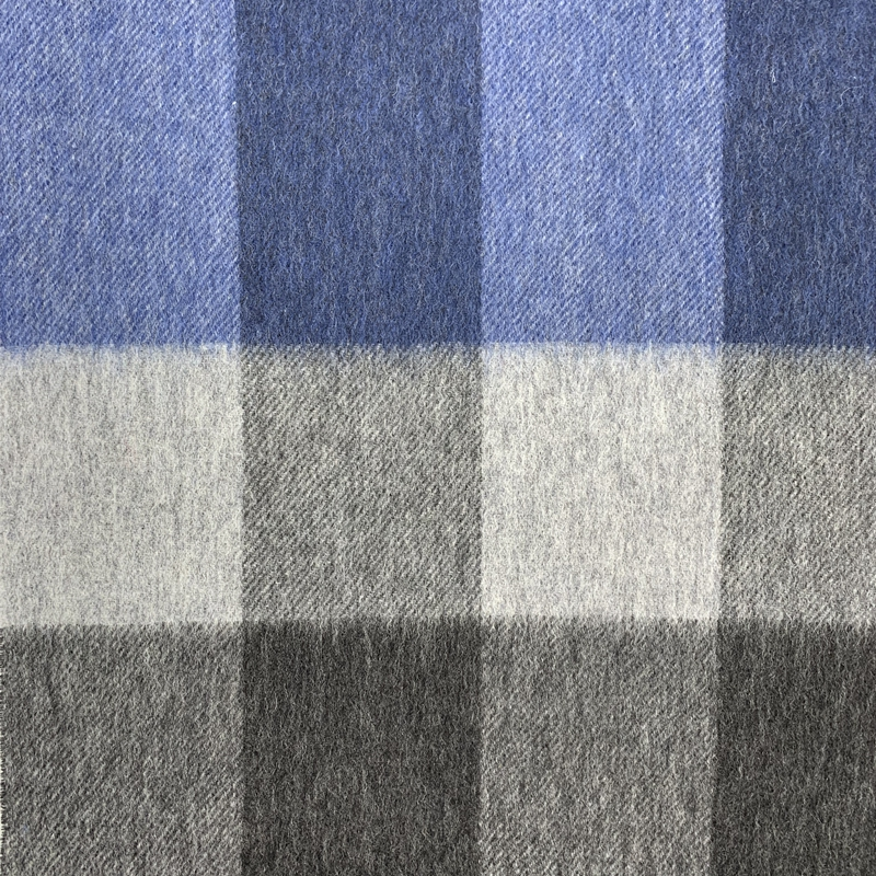 100%Cashmere Checked Scarf, Blue&Grey