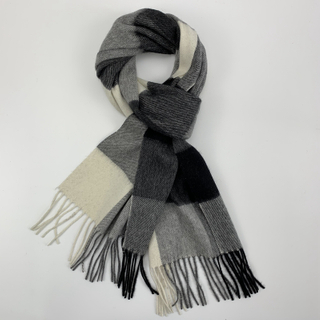 Cashmere Checked Scarf with Twill Weave, Black&White